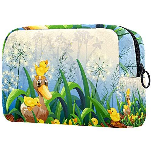 KAMEARI Bolsa de cosméticos lindo dibujos animados pequeños patitos en el jardín grande bolsa de cosméticos organizador multifuncional bolsas de viaje