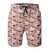 LREFON Pantaloncini da Spiaggia da Uomo ad Asciugatura Rapida, Labbra, Fodera in Rete Rossa, Costume da Bagno da Surf, con Tasche 2XL