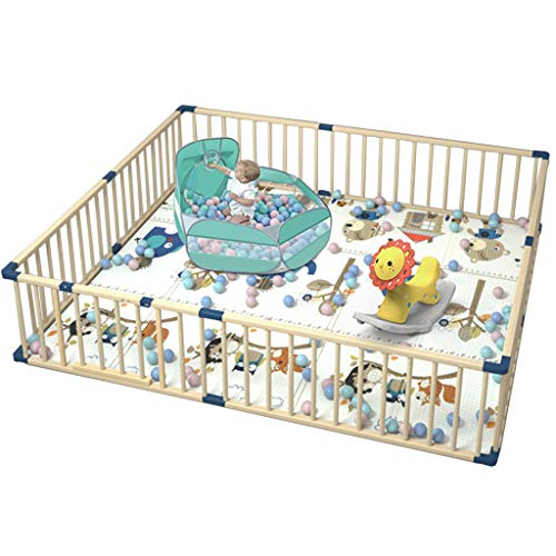Parque de Madera para bebés de Gran tamaño, Patio de Juegos Rectangular para niños pequeños con Puerta, tapete para Gatear, Piscina de Bolas Marinas y Caballo Mecedora (180 * 200 cm)