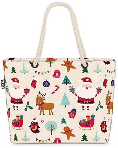 VOID Schlitten Nikolaus Weihnachten Strandtasche Shopper 58x38x16cm 23L XXL Einkaufstasche Tasche Reisetasche Beach Bag