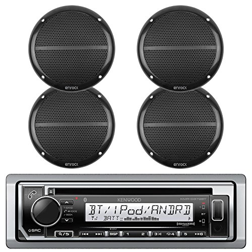 "New Kenwood Marine Boat Outdoor Bluetooth CD MP3 Player USB iPod iPhone Input Pandora AM/FM Receiver 4 x EnrockMarine 6.5"" Marine Waterproof Speakers Package - Marine Audio Kit (Black)"