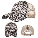 Unisex Baseball Cap Adjustable Ponytail Hat Distressed Criss Cross Mesh Sun Hat USA Classic Strapback Visor Cap
