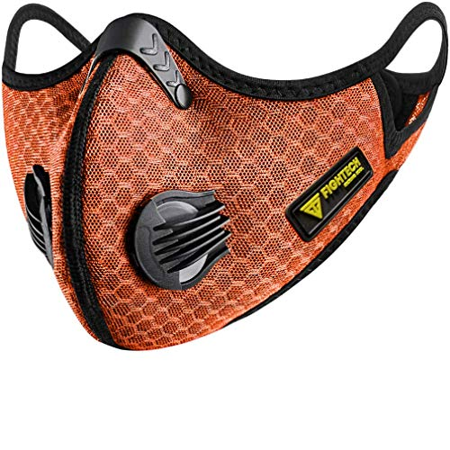 FIGHTECH Anti Pollution Dust Mask with 2 Carbon Filters for Pollution Pollen Allergy Woodworking Mowing   Washable and Reusable Mesh Half Face Mask (Large, Orange)