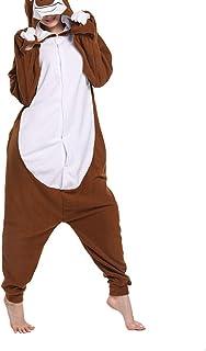 Pijama Perezoso Disfraz de Cosplay para Adultos Pijamas de Animales Marrón Unisex