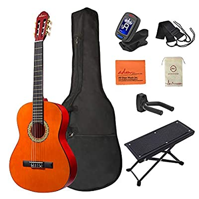 ADM Full Size Classical Nylon Strings Acoustic Kids Guitar with Gig Bag, E-tuner, Footstool, Student Beginner Guitar Kits