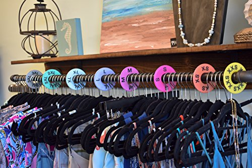 Clothes Size Dividers (40 Pack) Clothing Rack Round Closet Hangers, Perfect for Live Sale and LuLaRoe Supplies, Sizes XXS to 3XL