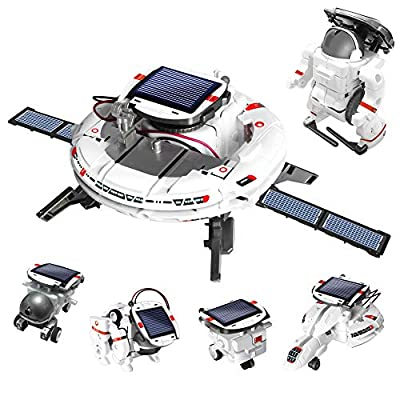 AoHu 6-in-1 STEM Science Solar Robot kit for Kids, Educational Space Exploration Fleet Building Learning Science Experiment Toys Kit for Boys and Girls Aged 8-14 Years