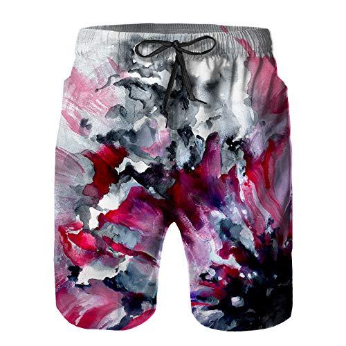 Hombres Playa Bañador Shorts,Contraste Abstracto Rojo Flor Negra en,Traje de baño con Forro de Malla de Secado rápido L