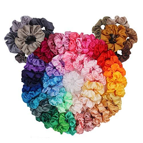 60 Pack Hair Scrunchies, BeeVines Satin Silk Scrunchies for Hair, Silky Curly Hair Accessories for Women, Hair Ties Ropes for Teens, Scrunchies Pack Girl's Birthday Gift Thanksgiving Christmas Gift