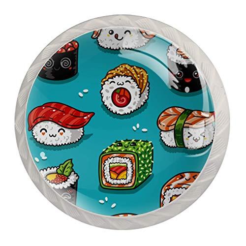 Bonito patrón de sushi japonés Kawaii, decorativo para armario, puerta de armario, muebles, pomos redondos para cajones (4 piezas)