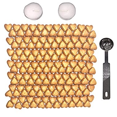 Sealing Wax Beads, [Gold and Wine Red available], Botokon 150 Pieces Heart Shape Wax Seal Beads Sticks with 2 Pieces Tea Candles and 1 Piece Wax Melting Spoon for Wax Stamp Sealing (Gold)