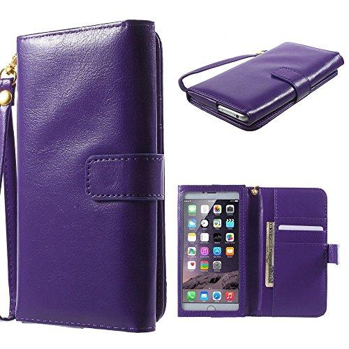 DFVmobile - Tasche Schutzhülle aus Innenrahmen Berührbaren aus Pferden Leder Mappen Kasten mit Kartenfächer für Allview W1 i - Violett