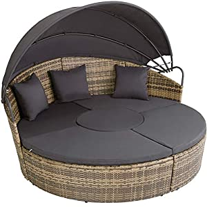 TecTake Poly Rattan Round Day Bed with Folding Canopy