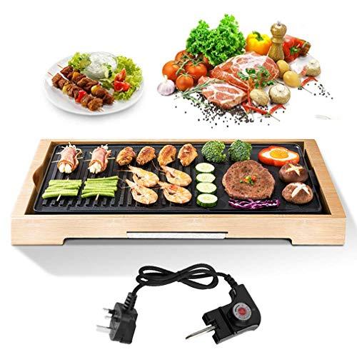 Parrilla eléctrica de bambú sin humo, parrilla eléctrica para interior de mesa, placa calefactora para cocina, bandeja de termostato ajustable, plancha antiadherente 2000 W