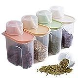 Elinala Recipientes para Cereales Almacenamiento, 4 Piezas PlÁStico de Alimentos Secos Caja, Cajas de Almacenamiento de Cocina Etiquetadas con Tapas para Alimentos Secos, Cereales y Harina.