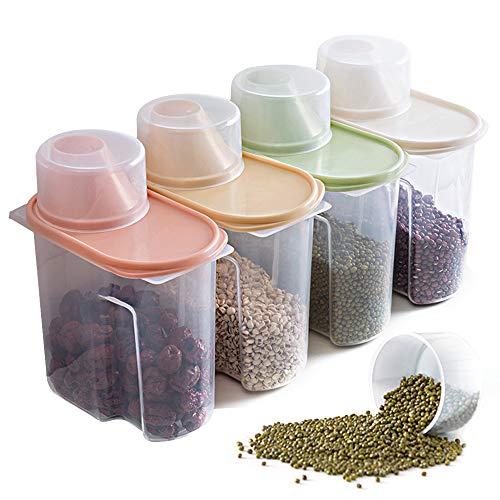 Elinala Recipientes para Cereales Almacenamiento, 4 Piezas PlÁStico de Alimentos Secos Caja, Cajas de Almacenamiento de Cocina Etiquetadas con Tapas para Alimentos Secos, Cereales y Harina