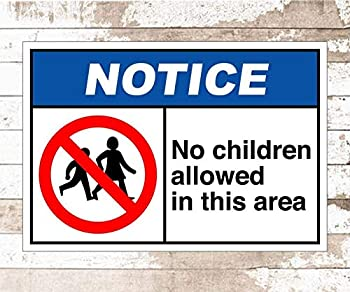 NINGFEI Metal Sign No Children Allowed in This Area Caution Safety Metal Sign 8X12 Inches Vintage Tin Sign