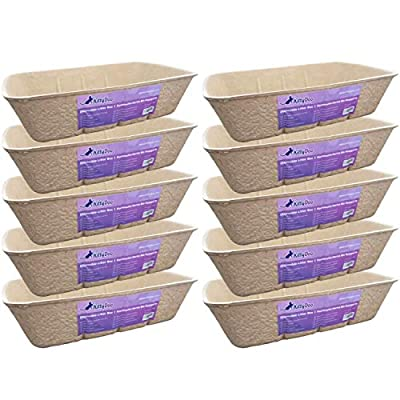 KittyDoo Disposable Cat Litter Tray - Sturdy, Hygienic and Recyclable Cat Litter Box - Suitable as a Kitten Litter Tray and Kitty Litter Tray Liner (10-Pack)