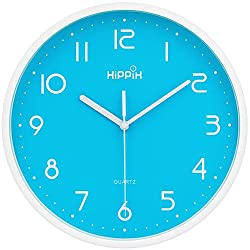 HIPPIH 10 Inch Silent Blue Wall Clock Non-Ticking Indoor Decorative Clocks for Office Kitchen Bedroom Living Room