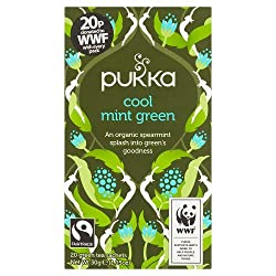 A refreshing organic whole leaf green tea Deliciously infused with Egyptian spearmint It features added sugar free, fair-trade Free from dairy, gluten, wheat, nut, soya and caffeine free