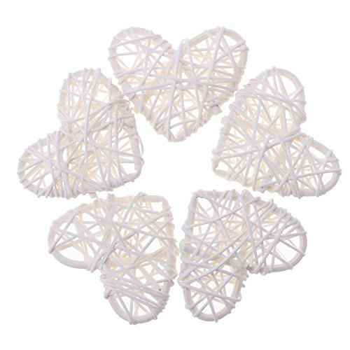 Demiawaking natürlichem Rattan Herz zum Aufhängen Deko DIY Basteln, Garten- und romm Schlafzimmer Hochzeit Dekoration, 10cm, weiß