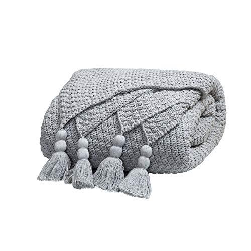 MYLUNE HOME 100% Baumwolle Luxus Stilvolle Strickdecke für Fernsehen oder Nap auf dem Stuhl, Sofa und Bett 130*160cm (Gray)