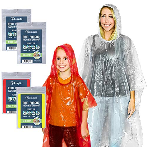 Lingito Emergency Rain Ponchos Family Pack | 2 Adults & 2 Children Ponchos | 100% Water-Proof with Drawstring Hood and Cuffed Sleeves | Great for Camping, Hiking, and Travel