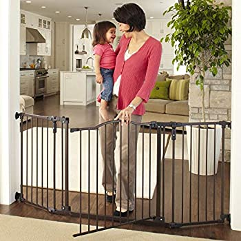 """Toddleroo by North States 72"""" wide Deluxe Décor Baby Gate  Sturdy extra wide baby gate with one hand operation Hardware Mount Fits 38.3 - 72"""" Wide  30  Tall Matte Bronze"""