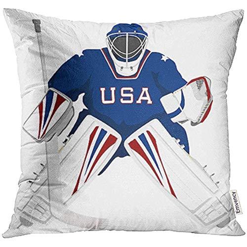Leisure-Time Dekokissenbezüge Dekorative Hülle Ice Team USA Hockey Torwart Trikot Sport Stick Winter Helm Cartoon Grafik