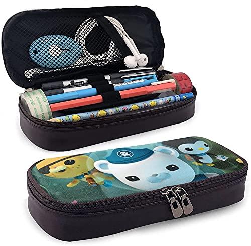 Die Oktonauten Leder Federmappe, Stiftemäppchen, Stifteetui mit strapazierfähigem Reißverschluss Bleistifttasche, für Jungen Mädchen Etui Büroarbeit
