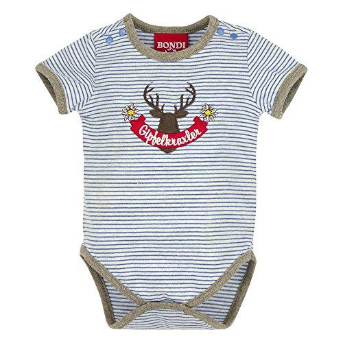 BONDI Body gestreift ´Gipfelkraxler´, stripe blue/grey-melange 56 Tracht Baby Jungs Artikel-Nr.91009