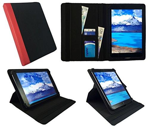 Kiano SlimTab 8 Black with Red Trim Universal 360 Grad Wallet Schutzhülle Folio mit Kartensteckplätzen ( 7 - 8 zoll ) von Sweet Tech