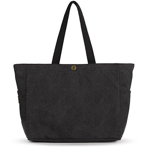 SMRITI Groß Canvas Shopper Tasche Schultertasche für Schule Reisen Arbeit und Einkäufe - Schwarz
