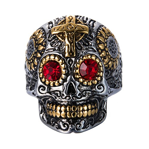 INRENG Men's Stainless Steel Silver Gold Gothic Cross Skull Ring Vintage Flower Carved Halloween Red Eye Size 9