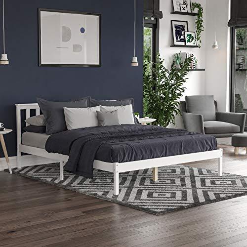 Vida Designs Milan King Size Bed, 5ft, Bed Frame, Solid Pine Wood, Headboard, Low Foot End, Bedroom Furniture, White