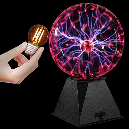Katzco Plasma Ball - Scientific Set with a Lightning Charged Bulb - Nebula, Lightning, Plug-in - for Parties, Decorations, Prop, Home
