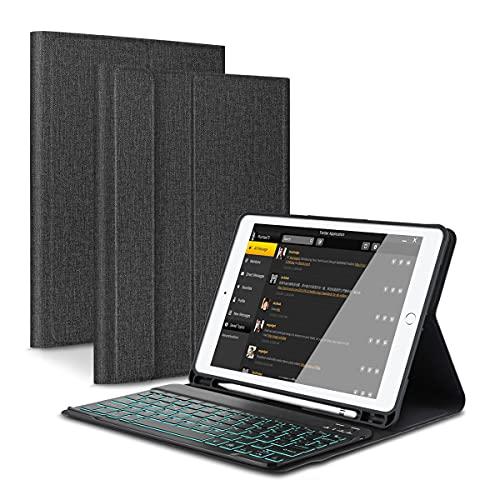 Feelkaeu per iPad 9.7 inch Custodia con Tastiera iPad Air 2/Air/iPad 9.7 2018/2017/iPad PRO 9.7, Tastiera Bluetooth Italiana Retroilluminato Staccabile con Portamatite, Sonno Automatico