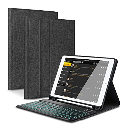 KOOCHUWAH iPad 9.7 Funda de Teclado Bluetooth con Portalápices, para iPad 2018 (6th Gen) iPad 2017 (5th Gen) iPad Pro 9.7 iPad Air 2 1 Teclado Inalambrico QWERTY Español Retroiluminado