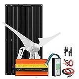 Kit de turbina solar de 600 vatios: generador de turbina eólica de 400 W + paneles solares flexibles mono de 200 W + inversor de energía de 1000 W + controlador + cables y conectores.