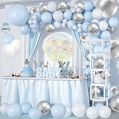 132 Pezzi Palloncini per Feste Kit , Palloncini di compleanno blu e bianchi da 12 pollici per Matrimonio, Anniversario,battesimo del bambino, Laurea, Decorazione Compleanno per Feste