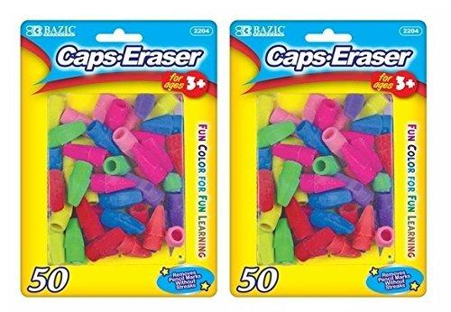 2 Pk, Bazic Caps Eraser Assorted Colors, 50 Per Pack/Total of 100