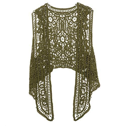 Pirate Curiosity Open Stitch Cardigan Boho Hippie Crochet Vest (Olive), Medium