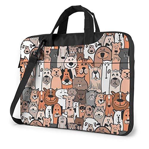 Laptop Tote Bag, Cat Dog Animal Durable Laptop Shoulder Bag with Strap Fits 13-15.6in Laptop for Women