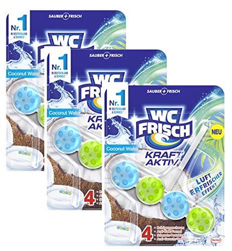 WC-Frisch Kraft Aktiv Duftspüler Coconut Water, WC-Reiniger, 50 g (3er Pack), mit Lufterfrischer Effekt für einen intensiven Duft