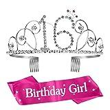 ZWOOS Compleanno Ragazza Glitter Decor Cristallo con Fascia Compleanno Anni di Compleanno Donna Tiara Birthday Corona Compleanno per Feste di Compleanno