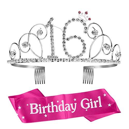 ZWOOS Geburtstags-Krone 16. Geburtstags Kristall Tiara Krone Geburtstags-Schärpe Prinzessin Haar-Zusätze