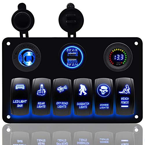 Boot wipschakelaar paneel voltmeter 12V sigarettenaansteker dubbele USB-oplader adapter inbouw waterdicht 6 versnellingen schakelaar zwart voor RV Car Marine