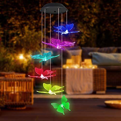 Ouddy Campanas de Viento Solar de Mariposa, Luces de Colores, Campanas de Viento LED Que Cambian de Color, Luces de Mariposa para Jardín, Ventana, Decoración de Fiesta