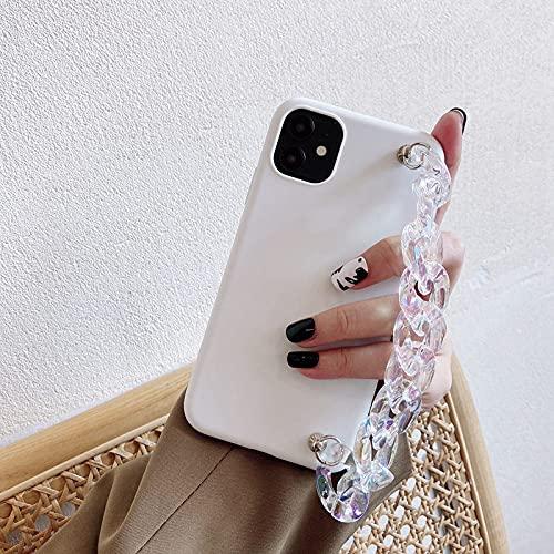LIUYAWEI Funda de teléfono con Cadena de Pulsera de Cristal Transparente para Samsung Galaxy S21 S20 FE Ultra S10 Lite S10E S9 S8 Plus Funda de Silicona Mate de TPU, Blanca con Cadena, S20 Ultra