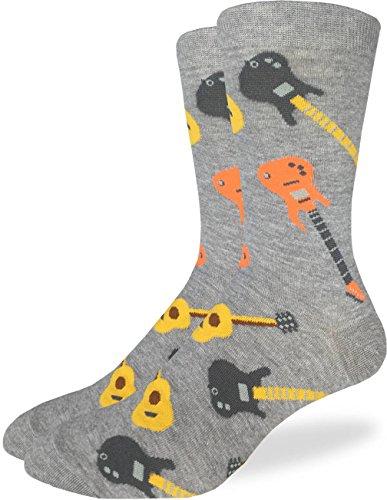 Good Luck Sock Mens Guitars Crew Socks - Grey, Adult Shoe Size 7-12